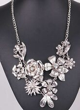 Fashion ancient Silve chain Bib Statement Chunky Flower Pendant woman Necklaces