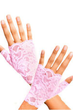 Baby Pink Lace Fingerless Wrist Length Gloves Pin Up Formal Prom