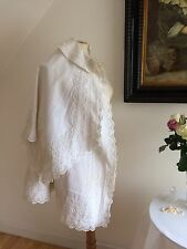 Victorian 1800s Rare Double Cape White Silk Grosgrain Normandy Rope Embroidery