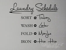 WALL DECAL - LAUNDRY SCHEDULE  - VINYL LETTERING ART STICKER QUOTE DECOR ROOM
