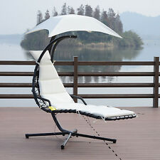 Outsunny Swing Chair Hanging Hammock Chaise Outdoor Stand Canopy Lounger Pa