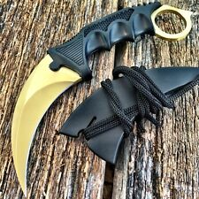 TACTICAL COMBAT KARAMBIT NECK KNIFE Survival Hunting BOWIE Fixed Blade GOLD