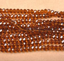 100Pcs coffee Crystal Glass Faceted Rondelle Spacer Beads 6MM