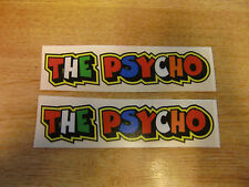 "Valentino Rossi style text - ""THE PSYCHO""  x2 stickers / decals  - 5in x 1in"