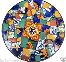 """30"""" Black Marble Coffee Table Top Multi Inlaid Mosaic Marquetry Home Decor H1513"""