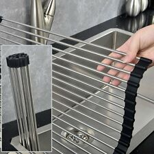 Dish Drying Rack Stainless Steel Drainer Holder Sink Kitchen Organizer Tray Cup