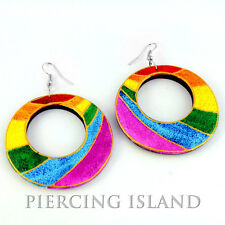 Super Rainbow Regenbogen Design Ohrringe Holz Wood Earrings Schmuck ER228