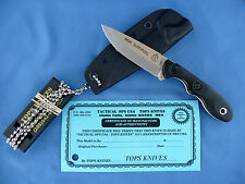 TOPS Mini Scandi Knife Coyote Tan Blade Black Linen Micarta 1095 Carbon USA Made
