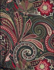 Christmas Paisley Green Red curtain valance