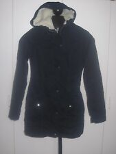 HOLLISTER LADIES NAVY HOODED ZIP/SNAP COAT-JR. S-HOOD W/REMOVABLE FAUX FUR-EUC