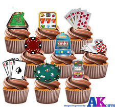 Poker Casino Slots Gambling Party Pack - 36 x Edible Wafer Cup Cake Toppers
