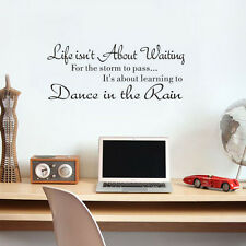 Dance In The Rain Quote Wall Sticker Inspiring Quote Removable Saying Wall Decal