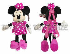 "MINNIE MOUSE PLUSH BACKPACK! PINK DRESS DOLL FIGURE STUFFED TOY DISNEY 18"" NWT"