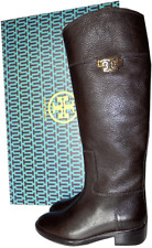 TORY BURCH Joanna Coconut Leather Riding Boot Flat Equestrian Bootie 8 Gold Logo