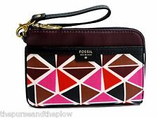 Fossil Ivy Wristlet Fuchsia Multicolor Print Zip Clutch New! NWT