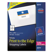Avery Color Printing Mailing Labels 3 3/4 x 4 3/4 White 100/Pack 6878