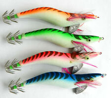 4pcs Lot Squid Jigs Hook Fishing Lures Baits shrimp Saltwater Tackle 12.8CM 21g