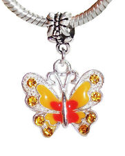 Butterfly Orange Peach Enamel Rhinestone Dangle Bead for European Charm Bracelet
