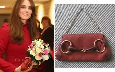 Authentic GUCCI Red Monogram Canvas Leather Horsebit Clutch Bag Chain Strap ASO