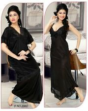 Womens Sleep Wear 2pc Nighty & Over Coat 206D Babydoll Slip & Robe Black Fun Set