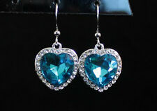 HEART OF OCEAN BLUE RHINESTONE CRYSTAL DANGLE CHANDELIER EARRINGS BRIDAL E1560B