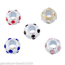 GB 10 Mixed Silver Plated Rhinestone Spacer Beads Fit Charm Bracelet 10mm