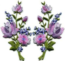 Lavender pink silver roses pair flowers floral appliques iron-on patches S-1268