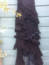 RITANOTIARA ONE SIZE BLACK LONG VINTAGE LACE DRESS TEA SHIFT STEAMPUNK GOTHIC