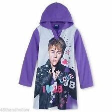 NWT SZ 10 GIRL'S HOODED FLEECE JUSTIN BIEBER PURPLE/ GRAY SOFT PAJAMA GOWN CUTE