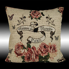 SHABBY CHIC ROSES ANGELS COUNTRY TAPESTRY THROW PILLOW CASE CUSHION COVER 17""