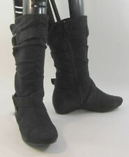 """Blacks 1.5""""low wedge heel faux suede side buckles sexy mid-calf boot size  6"""