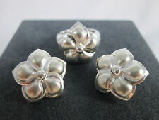 Elizabeth Rand Satin Sterling Silver Flower Clip On Earring & Ring Set  QVC