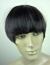 black clip in on fake fringe bangs hair extension hair piece fancy dress