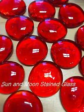 Orange Red Glass Gems/ Nuggets/ Mosaic Tiles (Large Size 2 Ib.)