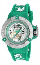 New Women's Invicta 16782 Subaqua Mechanical Silver Dial Green Poly Watch