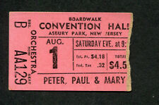 1964 Peter Paul & Mary Concert Ticket Stub Asbury Park NJ Puff The Magic Dragon
