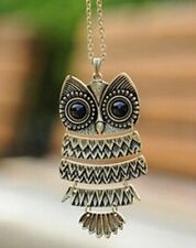 Vintage Owl Antique Pendant Necklace Long Chain Ladies Costume Jewellery UK