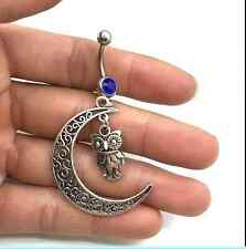 Steel Moon+owl deep blue Crystal Navel Belly Button Ring Body Piercing Jewelry