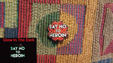 Just Say No To Heroin Red Tone Glitter Glow in the Dark Sacred Geometry Pin