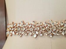 Wedding Bridal Sash Belt, Light ROSE GOLD Crystal Sash Belt = 22 inch long