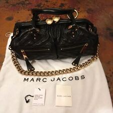 Authentic Marc Jacobs Leather Stam Quilted Handbag Shoulder Bag Black with Gold