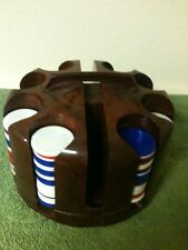 VINTAGE POKER CHIP TURNABLE CADDY HOLDER WITH ADJUSTABLE CARRYING HANDLE &