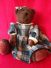 "Boyds Bears Plush 16"" J. B. BEAN SERIES WITH PLAID Dress 1985-1995"