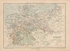 C9089 Allemagne - Germany - Cartina geografica antica - 1892 antique map