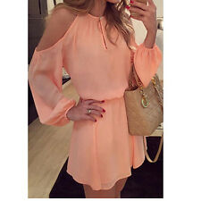 Summer Women Sexy Evening Cocktail Beach Casual Mini Party Dress Long Sleeve L