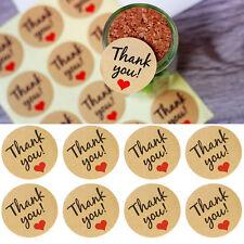 "60x Kraft Paper Love Heart ""Thank U"" Sticker Decorative Baking Sealing Paste New"