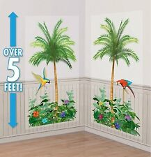 PALM TREES SCENE SETTER Birthday Party Wall Decorations Decor LUAU Tropical Bird