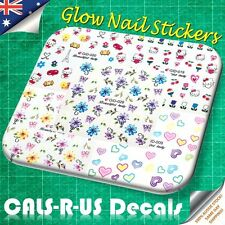 5 Packs Finger Toe Nail Sticker Hello Kitty Glow in Dark Flower Love Hearts L3