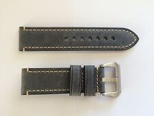 24mm Thick Leather watch band strap fit panerai 44mm  & 24mm pre v buckle Grey