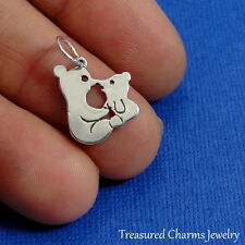 .925 Sterling Silver KISSING BEARS CHARM Baby Mama Bear Love PENDANT